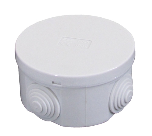 Esr 80mm Ip44 Round Pvc Junction Box With Knockouts Grey