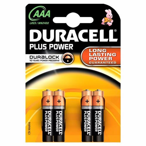 Duracell Plus Power Duralock AAA LR03 Block Alkaline Battery - 4 Pack  - Click to view a larger image