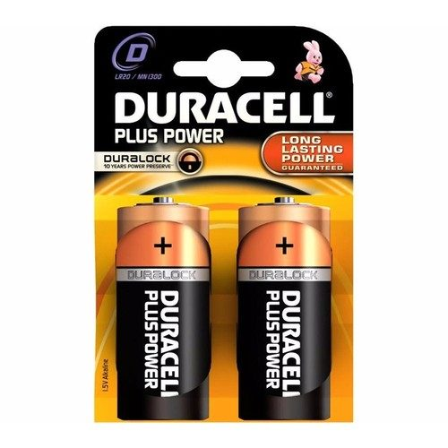Duracell Plus Power Duralock D LR20 Block Alkaline Battery - 2 Pack  - Click to view a larger image