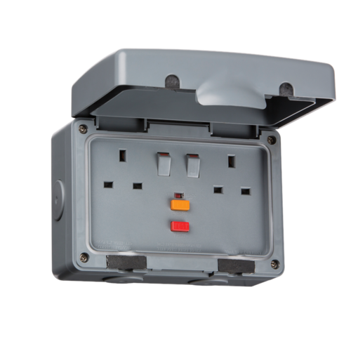 KnightsBridge 13A RCD Protected 2 Gang Double Pole IP66 Weatherproof Outdoor Socket  - Click to view a larger image