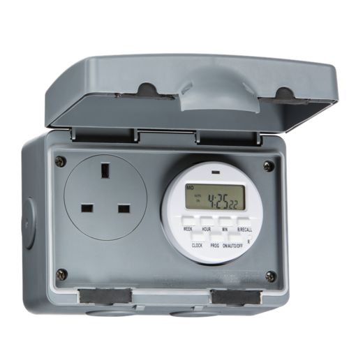 KnightsBridge 13A 1 Gang 7 Day Digital Timer Double Pole IP66 Weatherproof Socket  - Click to view a larger image
