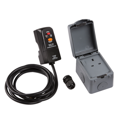 KnightsBridge IP66 Outdoor Socket DIY RCD Single Switched Socket Installation Kit  - Click to view a larger image
