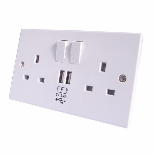 Group Gear 2.4A 2 way UK Power Socket With USB Charging Plate Outlet  - Click to view a larger image