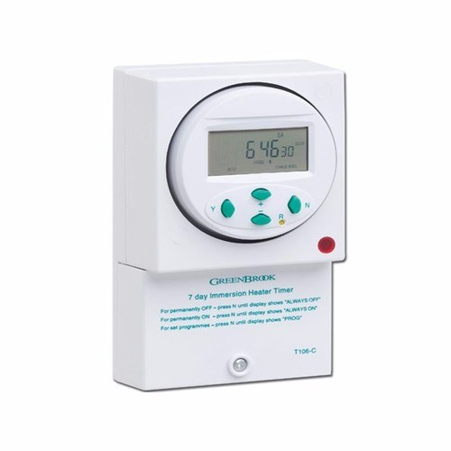 Greenbrook 7 Day 24 Setting Surface Electronic Digital Immersion Heater Timer with Battery Backup  - Click to view a larger image