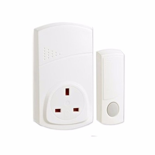 Greenbrook 150m Range Plug In Wireless Door Bell Chime & Push Kit Adapter - White  - Click to view a larger image