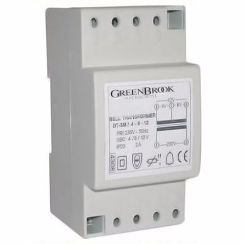 Greenbrook 2A Variable Voltage DIN Rail Double Insulated Bell And Chime Transformer  - Click to view a larger image