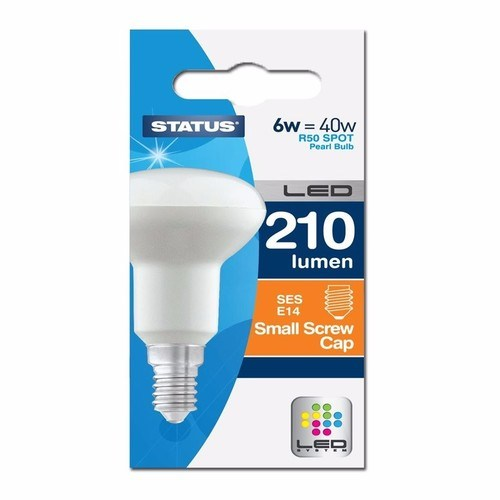 Status 6W Warm White Small Edison Screw SES LED R50 Spot Reflector Light Bulb  - Click to view a larger image