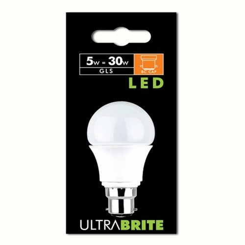 Status UltraBrite 5W Opal Warm White Bayonet Cap BC B22 Retrofit LED GLS Light Bulb  - Click to view a larger image