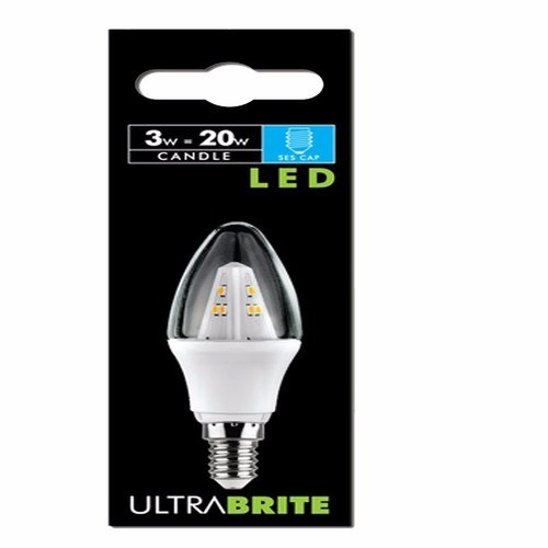 Status 5 PACK - UltraBrite 3W Small Edison Screw Clear Warm White LED Candle Light Bulb  - Click to view a larger image