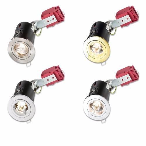 NEW Hispec GU10 Downlight Fire Rated 240v Satin Chrome Spot Light Tilt Fitting