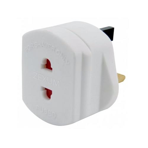 Zexum UK Mains To 2 Pin Shaver Socket Toothbrush Adapter Plug Zexum UK Mains to Shaver Adaptor - Click to view a larger image