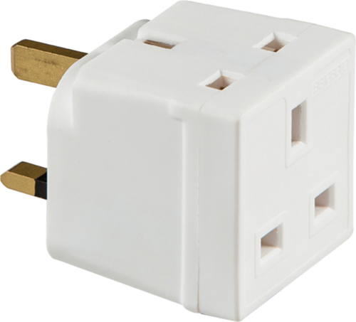 Mercury 13 Amp Two Way Unfused Electrical UK Mains Plug Adaptor  - Click to view a larger image