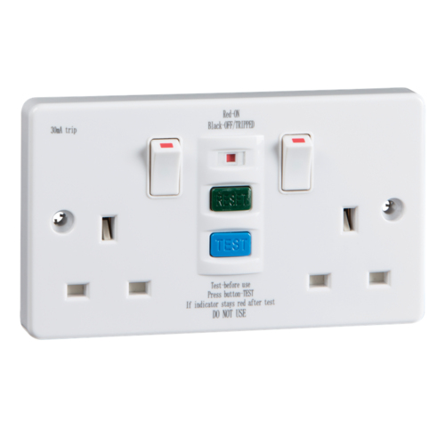 KnightsBridge 2 Gang RCD Socket UK 3 Pin Power Breaker Non-Latched Safety Adaptor RCD Double Socket Power Breaker - Click to view a larger image