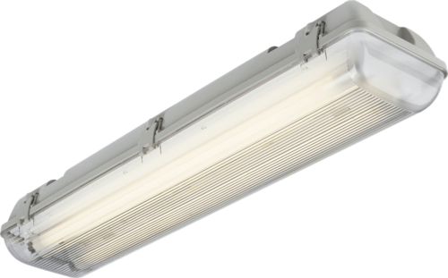KnightsBridge Twin T8 70W IP65 240V Emergency Backup Non-Corrosive Lamp Fitting Knightsbridge TR65270EMHF fluorescent bulb fitting  - Click to view a larger image