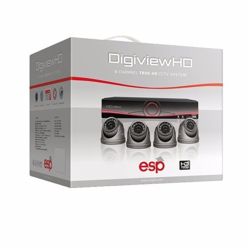 ESP 8 Channel Digiview AHD CCTV Security System & 4 Dome Cameras DVR included in kit - Click to view a larger image