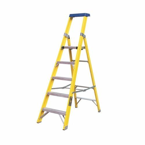 Greenbrook Fiberglass Aluminium Electricians Extension Step Ladder With Platform  - Click to view a larger image