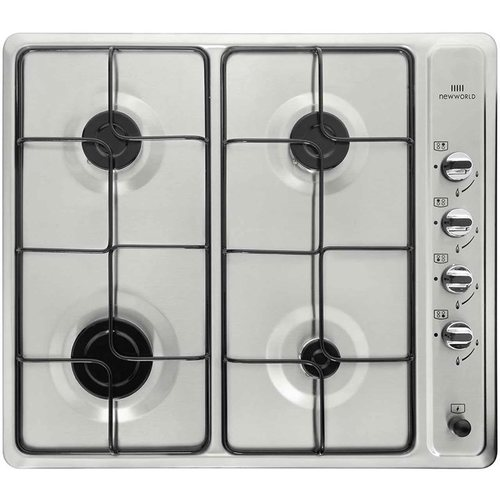 New World Stainless Steel 4 Gas Burner Hob LPG Compatible NWGU601 Stainless Steel Hob - Click to view a larger image
