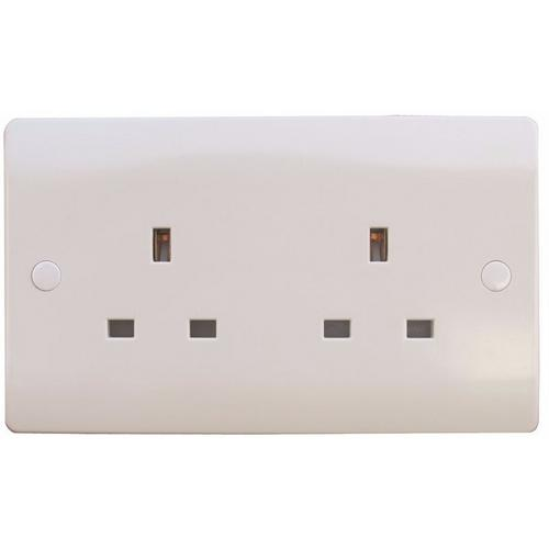 ESR Sline 13A White 2G Twin 230V UK 3 Pin Unswitched Electric Wall Socket ESR Sline 13A White 2G Twin 230V UK 3 Pin Unswitched Electric Wall Socket  - Click to view a larger image