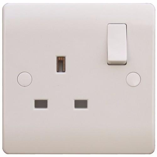 ESR Sline 1 Gang White 13a Switched Double Pole UK Plug Socket SL409 Switched UK plug Socket - Click to view a larger image