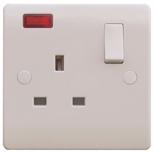ESR Sline 1 Gang White 13a Switched Single Pole UK Plug Socket with Neon ESR SL411 Switched 1 Gang Socket With Neon Indicator - Click to view a larger image