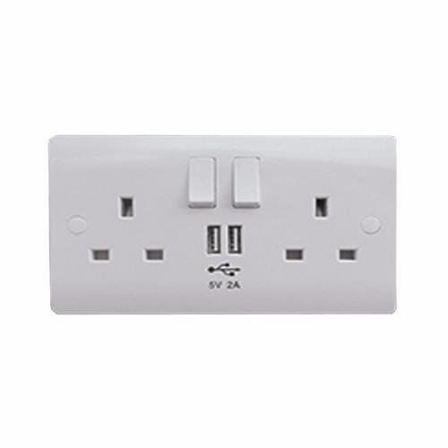 ESR Sline 13A White 2G 230V UK 3 Switched Electric Wall Socket & 2 USB Charger Port  - Click to view a larger image