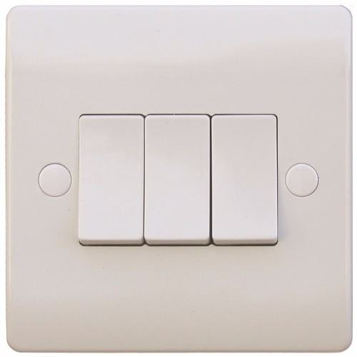 ESR Sline 10A White 3G 2 Way 230V Electric Wall Plate Switch ESR Sline 10A White 3G 2 Way 230V Electric Wall Plate Switch  - Click to view a larger image
