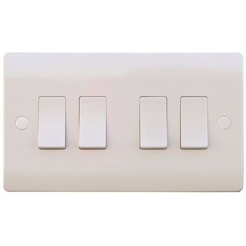 ESR Sline 10A White 4G 2 Way 230V Electric Wall Plate Switch