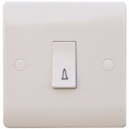 ESR Sline 10A White Bell 230V Electric Wall Plate Switch SL317 10AX 1 Gang Bell Switch/Bell - Click to view a larger image