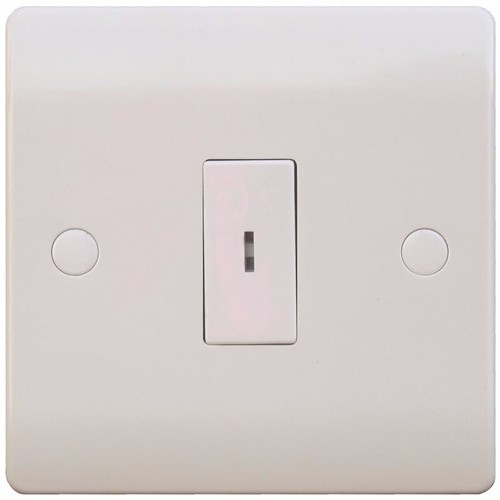 ESR Sline 10A White 1G Double Pole Electric Fish Key Operated Wall Plate Switch