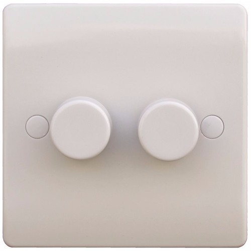 ESR Sline 40-400W White 2G 2 Way 230V Electric Dimmer Switch Wall Plate 2 Gang 2 Way 400w Dimmer Switch - Click to view a larger image