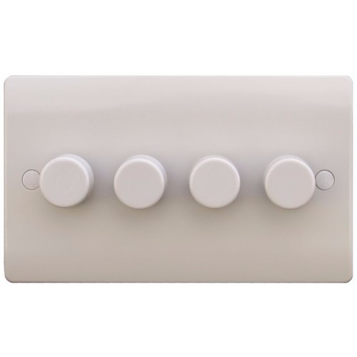 ESR Sline 40-400W White 4G 2 Way 230V Electric Dimmer Switch Wall Plate SL357/400 - 4 Gang 2 Way 400w Dimmer Switch (2 Gang Plate) - Click to view a larger image