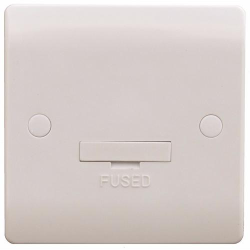ESR Sline 13A White Connection Unit Fused Electric Wall Plate SL416 - 13a Fused Connection Unit - Click to view a larger image