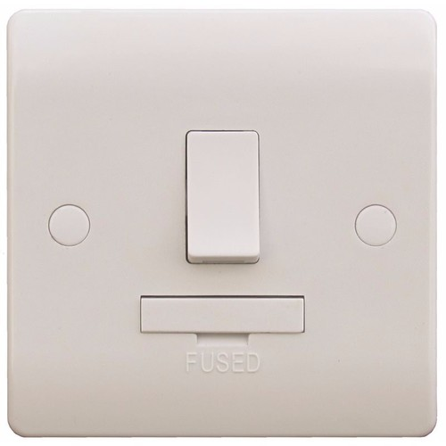 ESR Sline 13A White Switched Connection Unit DP Fused Electric Wall Plate SL422 - 13a Double Pole Switched Fused Connection Unit - Click to view a larger image