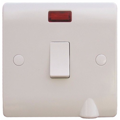 ESR Sline 20A White 1G Double Pole 230V Electric Wall Plate Switch With Neon & Flex Outlet SL324F - 20a Double Pole Switch c/w Neon & Flex Outlet - Click to view a larger image