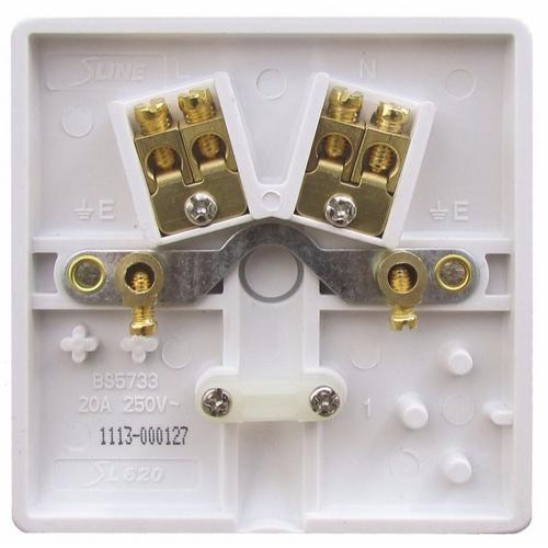 ESR Sline 20A White Flex Outlet Single Frontplate Electric Wall Plate SL820 - 20a 1 Gang Connection Plate - Click to view a larger image