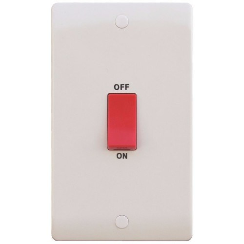 ESR Sline 45A White 2G Double Pole 230V Electric Cooker Wall Plate Switch SL330 - 45a 2 Gang Tall Double Pole Switch - Click to view a larger image
