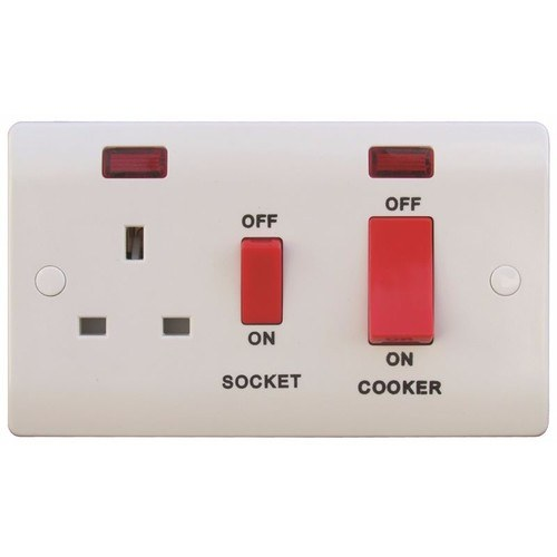 ESR Sline 45A White 2G Double Pole 230V Electric Wall Plate Cooker Switch and 13A Socket with Neons SL331 - 45a Double Pole Switch + 13a Switched Socket c/w Neon - Click to view a larger image
