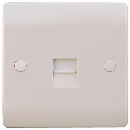 ESR Sline 1G White Telephone Master Socket Flush Wall Switch SL439 - 1 Gang Master Telephone Socket - Click to view a larger image