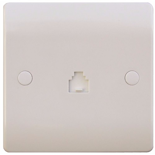 ESR Sline 1 Gang White RJ45 ADSL / Irish Telephone Connector Network Socket SL453 - 1 Gang RJ11/ROI Telephone Socket - Click to view a larger image