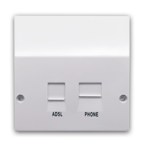 BT NTE5 Compatible ADSL Broadband Faceplate Splitter Adaptor Socket ADSL BROADBAND FACEPLATE SPLITTER ADAPTOR SOCKET - Click to view a larger image