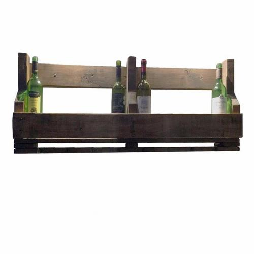 Zexum Handmade Rustic Solid Wood Reclaimed Wine And Glass Rack  - Click to view a larger image