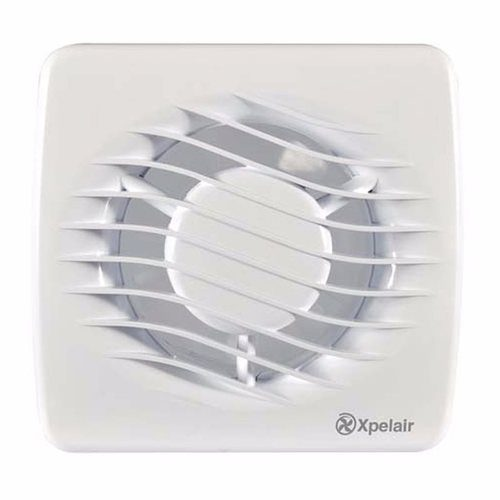 "Xpelair 4"" Bathroom Extractor Fan with Wall & Window Kit Xpelair DX100 4"" 100mm Square Bathroom Extrator Fan With Timer  - Click to view a larger image"