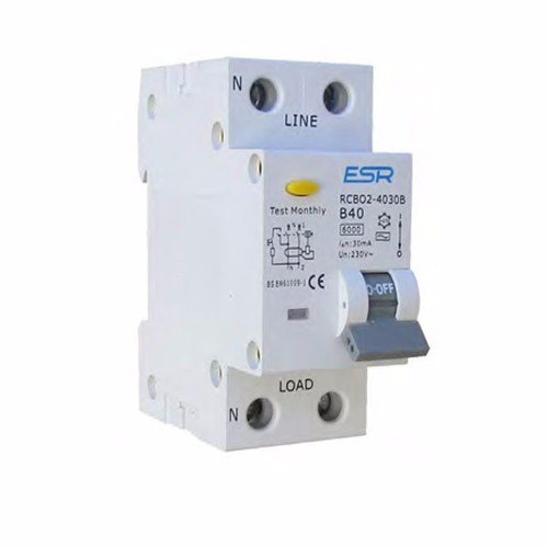 ESR RCBO B Curve 6KA 2 Pole Domestic Consumer Unit Circuit Breaker  - Click to view a larger image