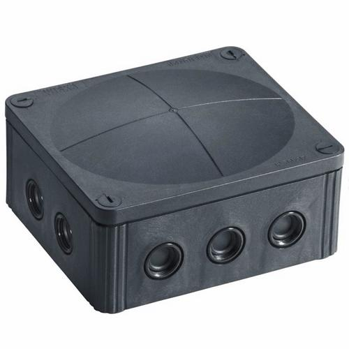 Wiska Combi 1210/5 57A Black IP66 Weatherproof Junction Adaptable Box Enclosure With 5 Way Connector  - Click to view a larger image