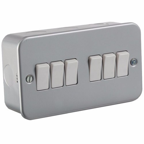 KnightsBridge 10A 6G 2 Way 230V Metal Clad Electric Wall Plate Switch KnightsBridge Metal Clad 10A 2 Way 6 Gang Switch  - Click to view a larger image