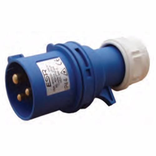 ESR 16A 230V IP44 Fast Fit Industrial 3 Pin In-Line Caravan Male Plug ESR 16A 200-250V IP44 Industrial 3 Pin 2P+E In-Line Caravan CEE Plug - Click to view a larger image