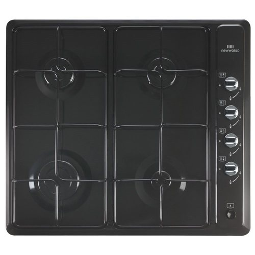 New World Black Coated Stainless Steel 4 Gas Burner Hob LPG Compatible New World NWGHU601-BLK Hob - Click to view a larger image