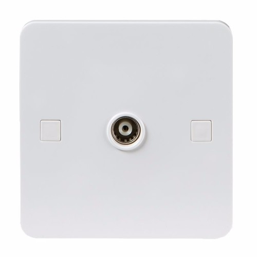 KnightsBridge Pure 4mm White Coaxial TV Outlet Un-Isolated Single Wall Plate KnightsBridge PURE 4mm Non-Isolated Coax TV Outlet Socket  - Click to view a larger image