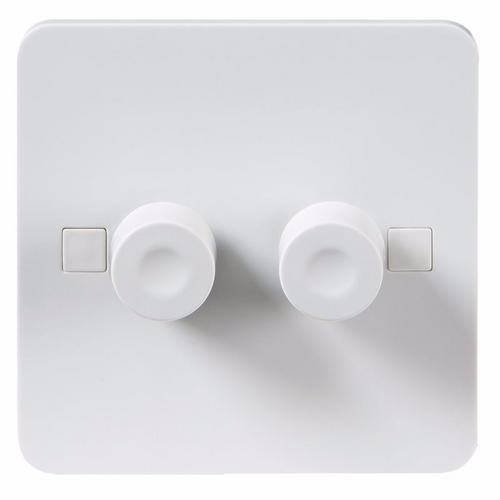 KnightsBridge Pure 4mm 40-400W White 2G 2 Way 230V Electric Dimmer Switch KnightsBridge PURE 2G 2 Way LED Friendly Dimmer Switch With Concave Button - Click to view a larger image