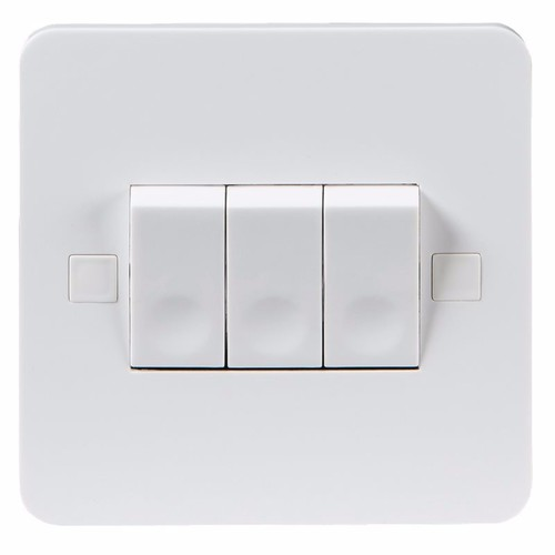 KnightsBridge Pure 4mm 10A White 3G 2 Way 230V Electric Wall Plate Switch KnightsBridge PURE 10A 3G 2 Way Switch With Concave Rocker Detail  - Click to view a larger image